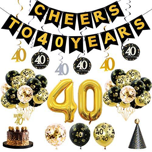 JaosWish 40. Geburtstag Dekoration mit hängenden Luftballons, Happy Birthday Party Banner,Hut, Glitter Cake Topper für Damen und Herren