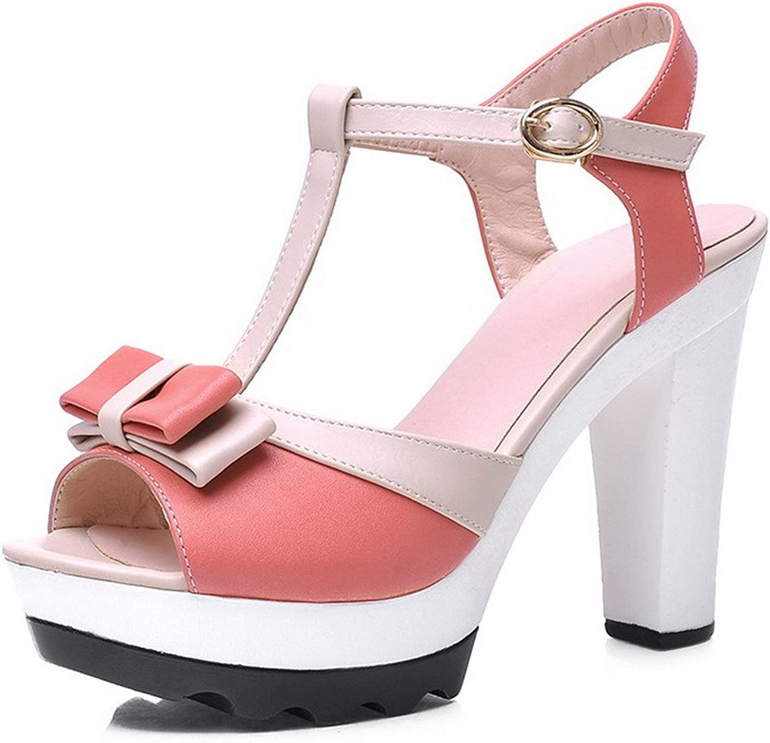 AmoonyFashion Women's Open Toe High Heel PU Soft Material Solid Sandals with Bows, Pink, 7.5 B(M) US