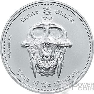 2016 PW Lunar Skulls PowerCoin Monkey Chinese Year 1 Oz BU Silver Coin 5$ Palau 2016 BU Brilliant Uncirculated