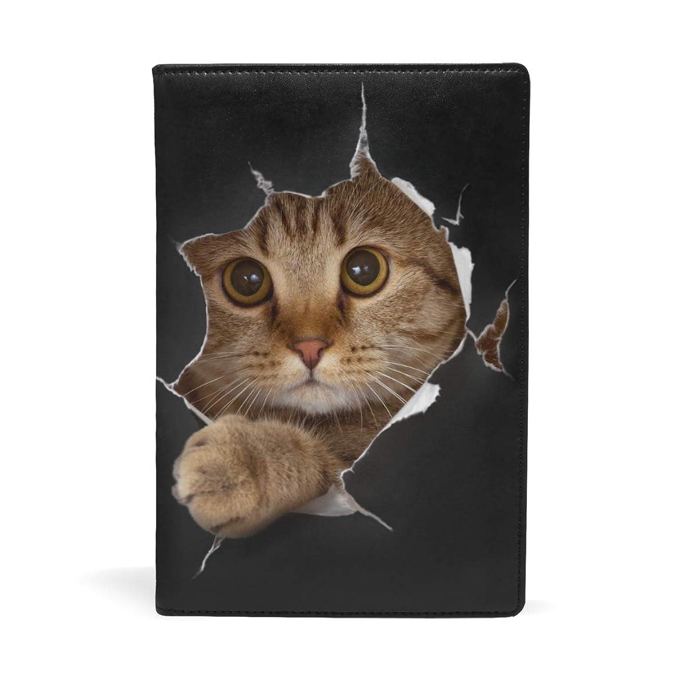 マンハッタン感謝祭備品ブックカバー 文庫 a5 皮革 新書 かわいい 本カバー ファイル 資料 収納入れ オフィス用品 読書 雑貨 プレゼント 猫柄 面白い 黒