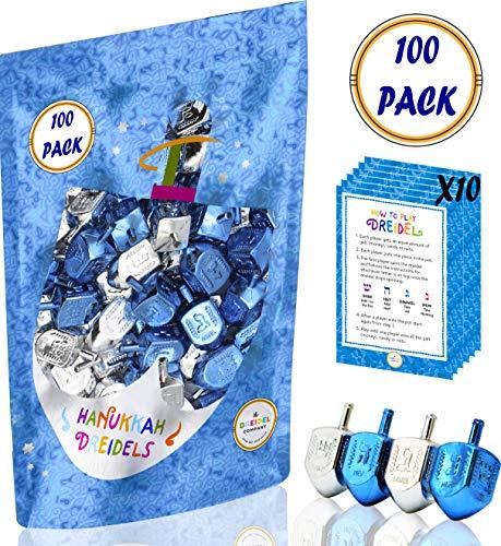 Hanukkah Dreidels Metallic Silver & Blue Draydels with English Translation- Includes x10 Dreidel Game Instruction Card (100-Pack)