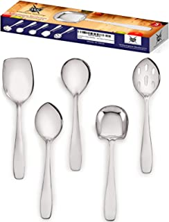 Premium 5 Piece Stainless Steel Cooking & Serving Spoon Set, Includes Solid Spoon, Oval Spoon, Slotted Spoon, Square Spoon & MultiServer - Heavy Gauge Durability - Modern Mirror Finish Flatware