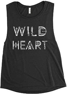 WILD HEART Women's Premium Flowy Scoop Muscle Tank, Stevie Nicks Fleetwood Sleeveless Boho Tribal Rock Tee Shirt, Vintage Boho Worn Graphics Festival Concert Shirt by BLUE DOVE