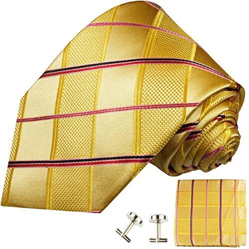 Cravate homme or rouge rayée ensemble de cravate 3 Pièces (longueur 165cm)