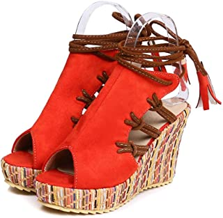 Summer Vacation Beach Bohemian Fringed Strap High-Heeled Sandals (Color : Red, Size : 39 EUR)