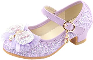 O&N Children Kids Girls Pretty Bow Mary Janes Wedding Party Princess Dress Shoes Bridesmaids Low Heels