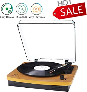 JORLAI Record Player, Turntables for Vinyl Records, 33 45 78 RPM Record Player with Speakers, Vinyl to MP3 Recording Capable, RCA Output, 3.5mm Aux Input, Volume Control - Wood
