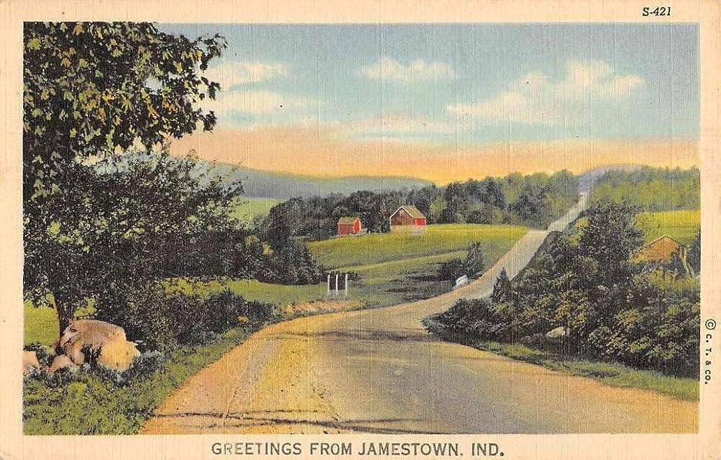 Jamestown Indiana Scenic Roadway Greeting Antique Postcard K101575 iuw1354135