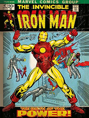 Pyramid International Iron Man Nascita di Alimentazione Stampa su Tela, Legno, Multicolore, 30x 40x 1.3cm