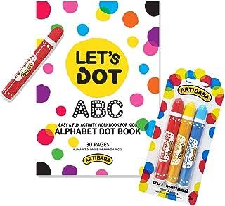 Dot Marker 3 Color Pack with Alphabet Dot Book Fun Art Activity Vivid Colors Safe Easy Creative Art Medium for Art Beginne...
