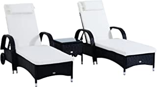 Outsunny 3 Piece Rattan Wicker Adjustable Chaise Lounge Chair with Wheels Set- Black/White - Black