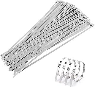 GWHOLE Lot de 100 Colliers de Serrage Attache Câbles en Acier Inoxydable Serre-câbles Autobloquante - 4,6 x 300mm