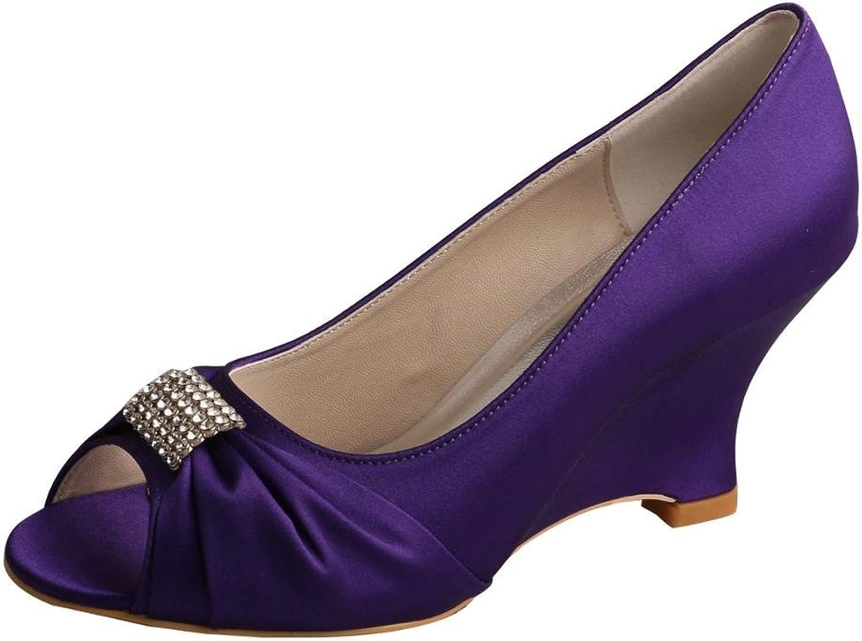 Wedopus MW877 Women's Wedge Heel Peep Toe Rhinestones Satin High Heel Wedding shoes