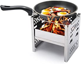 Yoler Folding Stainless Steel Camp Stove Grill for Outdoor BBQ Over Open Fire