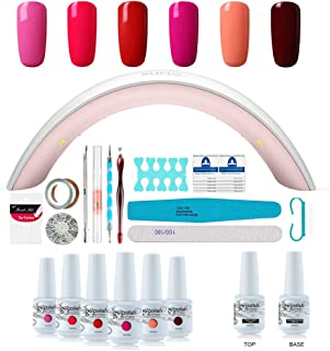 Gel Nail Polish Starter Kit - 6 Colors Gel Polish Set Base Top Coat, 36W LED Nail Dryer Lamp with Full DIY Gel Manicure Nail Tools by Vishine 8ml #10