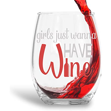 Amazon Com Girls Just Wanna Have Wine Funny 15oz Crystal Stemless Wine Glass Fun Wine Glasses With Sayings Gifts For Women Her Mom On Mother S Day Or Christmas Wine Glasses