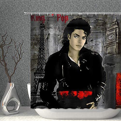 NJMRZX Vintage Duschvorhang Michael Jackson & Paris Eiffelturm schwarz grau Dekor Stoff Polyester Badezimmer Gardinen mit Haken 228 x 178 cm