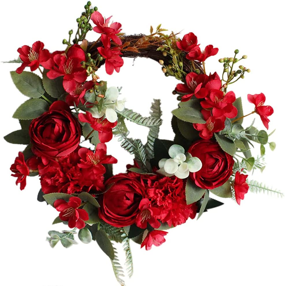 yhengg Peony Wreath Limited time sale Flower Wreaths for w Gree Front Peonies Door Trust