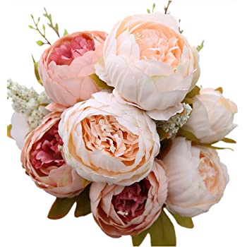 Amazon Com Luyue Vintage Artificial Peony Silk Flowers Bouquet Home Wedding Decoration Home Kitchen