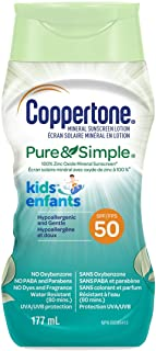 Coppertone Mineral Sunscreen lotion pure and Simple Kids Spf 50, Hypoallergenic Sun Protection for Children, Sunscreen Fac...
