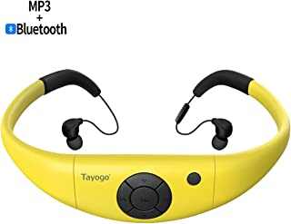 Tayogo Waterproof Mp3 Player, 8GB Swimming Bluetooth Headset Underwater 10FT Support FM APP Flash Drive with Shuffle Feature - Yellow
