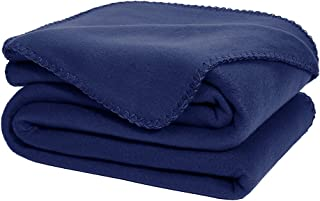 DOZZZ Oversize Flannel Polar Fleece Throw Blanket 70 x 50 Fuzzy Plush Microfiber for Couch Cover Sofa Chair Bed Navy Blue