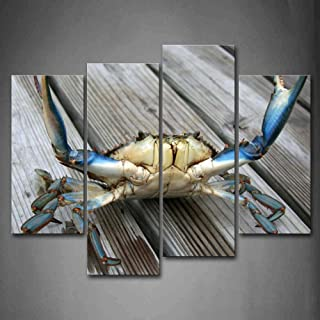 First Wall Art - Blue Crab Stretch Out Claw On Plank Wall Art Painting The Picture Print On Canvas Animal Pictures For Home Decor Decoration Gift