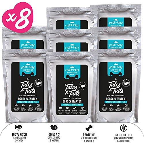 Tales & Tails® - Nassfutter für Hunde aus 100% isländischem Fisch   Getreidefreies Hundefutter, Natürlich, Nährstoffreich, Zuckerfrei  Probepaket mit 3 Sorten: Dorsch, Forelle, Lachs   8x100g