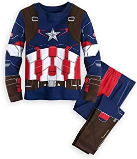 Store Marvel Captain America Boy 2PC Long Sleeve Costume Pajama Set Size 7