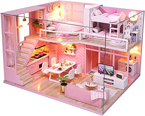 CuteBee Dollhouse Miniature with Furniture, DIY Dollhouse Kit Plus Dust Proof and Music Movement, 1:24 Scale Creative...