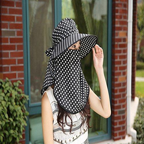 Inovey New da Donna Visiera Wave a Protezione Solare Antivento Estate Tessuto Punto dell' Onda Cappello da Sole con Maniche–Nero