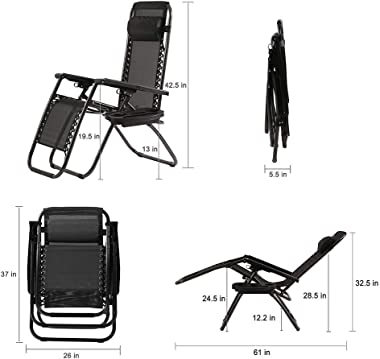 Zero Gravity Chairs Patio Chairs Lawn Chairs Patio Set of 2 with Pillow and Cup Holder Patio Furniture Outdoor Adjustable Din
