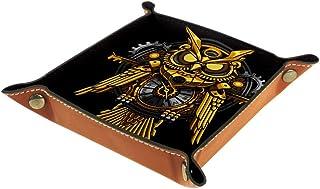 Boîte de rangement en cuir PU carré plateau pour jeux de table de dés de jeux de clés, porte-monnaie, porte-monnaie, plate...
