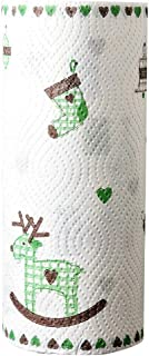 Disposable Printing Kitchen Paper Towel Roller, 50 Grams/㎡, Double Layers, 80 Pieces 9'' by 9'' (Xmas)