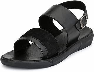 GUAVA Men Black Anti-Sweat Leather Sandals