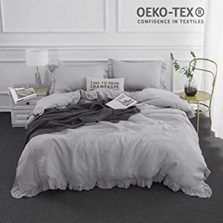 Simple&Opulence 100% Stone Washed Linen Frill Floral Flax Duvet Cover Set