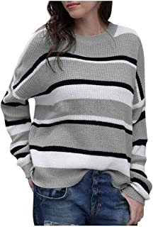 MIS1950s Women's Lightweight Sweater Casual Long Sleeve Stripe Knitted Top Pullover