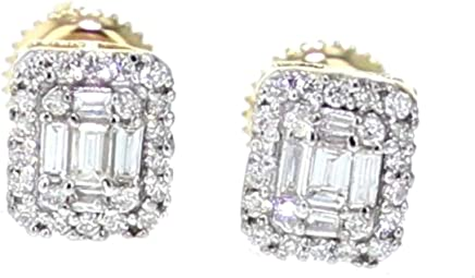 Diamond Earrings for Men or Womens 14K Gold 0.40ctw Baguette and Round Cut Rectangular Shaped Screw Back 7mm