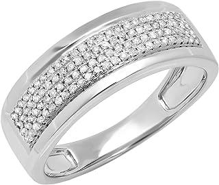 Dazzlingrock Collection 0.40 Carat (ctw) Round Lab Grown Diamond Men's Flashy Wedding Ring, Sterling Silver