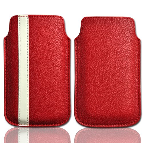 Handy Tasche Etui Hülle Hülle Schutztasche Leder rot / weiß W8 Gr.4 für Nokia Lumia 900 / Huawei Ascend D quad / Huawei Ascend D quad XL / Sony Xperia Ion / Huawei U9200 Ascend P1 / Samsung Galaxy S2 i9210 LTE / Samsung Galaxy Nexus / Base Lutea 2