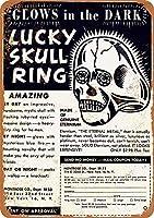 Lucky Skull Ring 注意看板メタル安全標識注意マー表示パネル金属板のブリキ看板情報サイントイレ公共場所駐車ペット誕生日新年クリスマスパーティーギフト