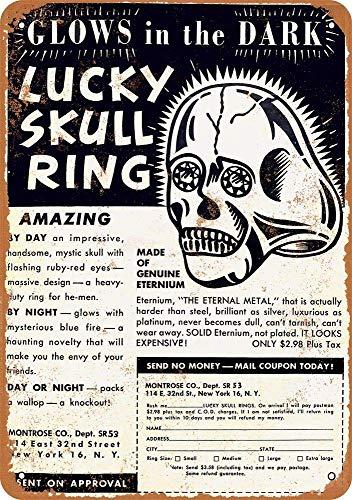 niet Lucky Skull Ring Metalen tin teken schilderij decoratie Populaire IJzeren Schilderij Poster Voor bar cafe eetkamer huis club
