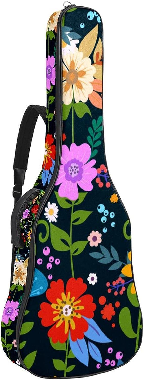 Funda de Guitarra Española Flores coloridas Bolsa Acolchada Para Guitarra Acústica con Asa de Transporte y Correa Para el Hombro 109x43x12cm