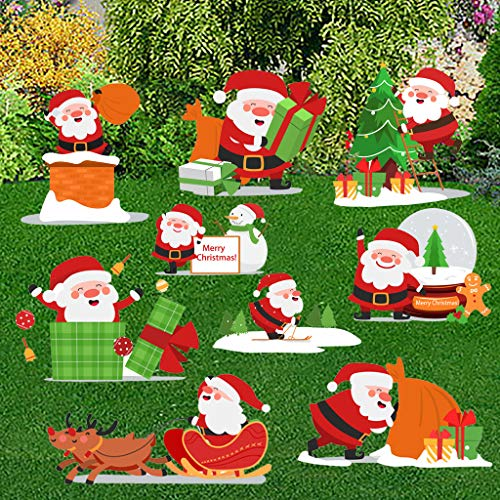 Cloud ROM Christmas Yard Signs 4/6/9Pcs Christmas Santa Claus Decorations Yard Signs with Stakes for Holiday Lawn Yard Outdoor Decorations Xmas Holiday Party Home Decorations Outdoor