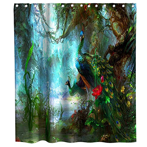 Lifeasy Green Jungle Peacock Shower Curtain Cloth Fabric Bathroom Decor Sets with Hooks Waterproof Washable 72 x 72 inches Brown Blue Red