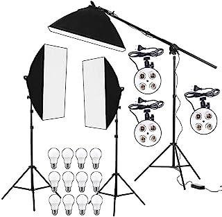 HIFFIN® PRO Quadlux Mark II Soft Led Still & Video Light Softbox 3 Point Lighting Kit with AC Power, YouTube Shooting, Vid...