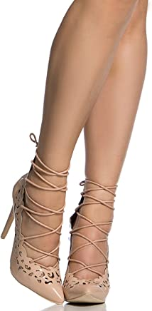 16de1293395 Cicihot Nude Faux Patent Leather Lace Up Pointed Toe Heels