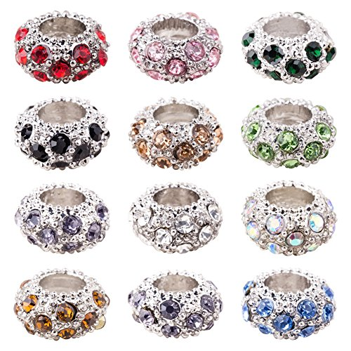 PH PandaHall 100pcs Rhinestone Large Hole European Beads, Platinum Mixed Color Crystal Rondelle Spacer Beads Fit European Snake Chain Charms Bracelet(11x6mm, Hole: 5mm)