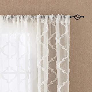 White Sheer Textured Curtains Window Treatment Drapes Rod Pocket Elegance Voile Curtain Set Moroccan Tile Solid Voile Embroidery Sheers, 72 inch