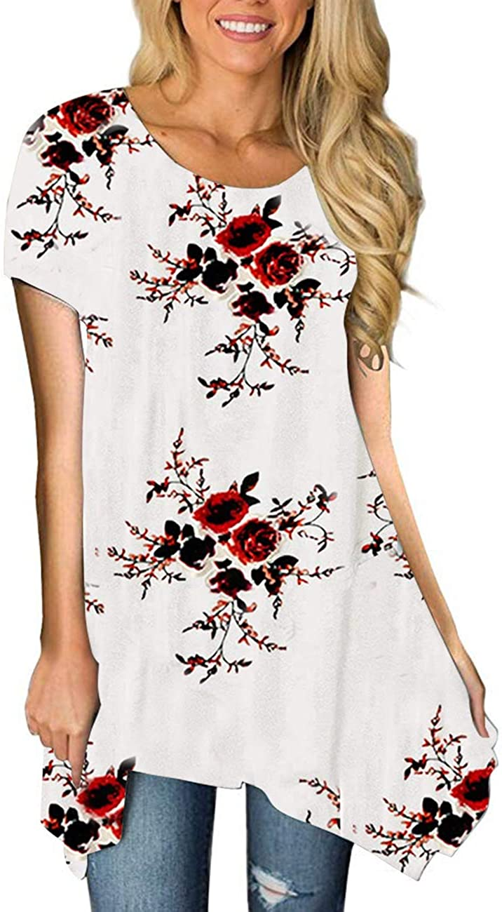 MIROL Womens Summer Max 48% OFF Short New mail order Sleeve Hem Irregular Print Asym Floral